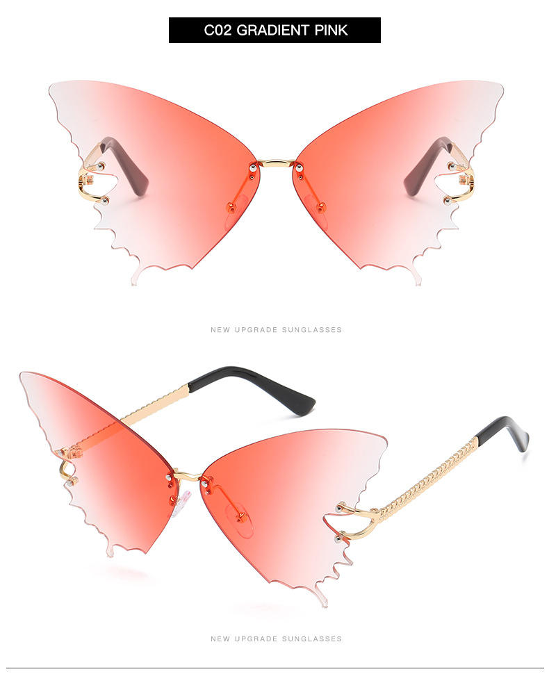 S2033 Butterfly Sunglasses Female Fashion Big Frame Gradient Color Sunglasses Trend Street Photography Sunglasses  7