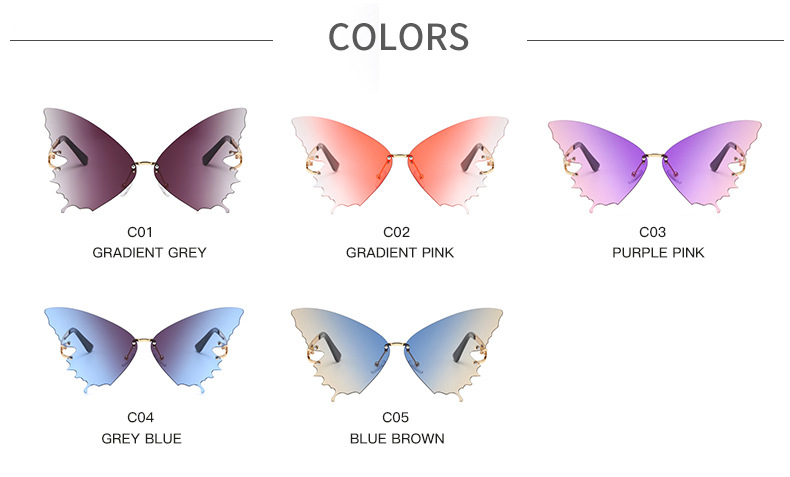 S2033 Butterfly Sunglasses Female Fashion Big Frame Gradient Color Sunglasses Trend Street Photography Sunglasses  5