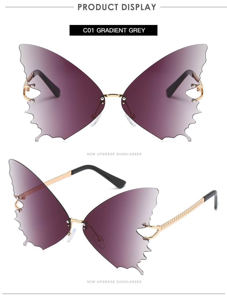S2033 Butterfly Sunglasses Female Fashion Big Frame Gradient Color Sunglasses Trend Street Photography Sunglasses  6