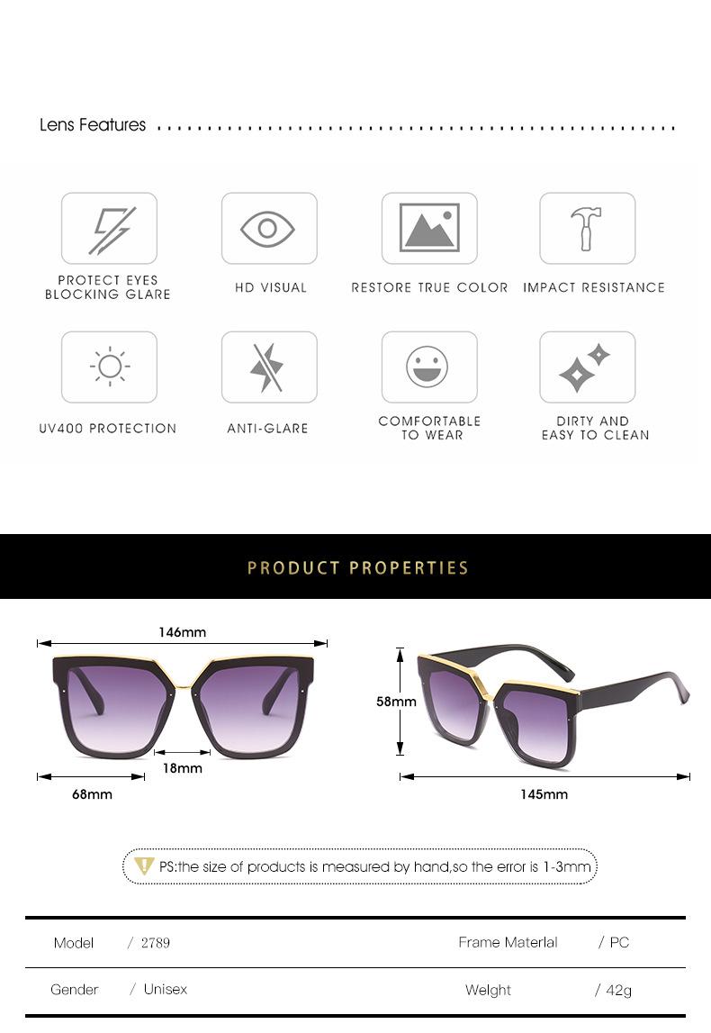 2020 New Box Sunglasses European And American Fashion Metal Accessories Sunglasses All-match Glasses 2