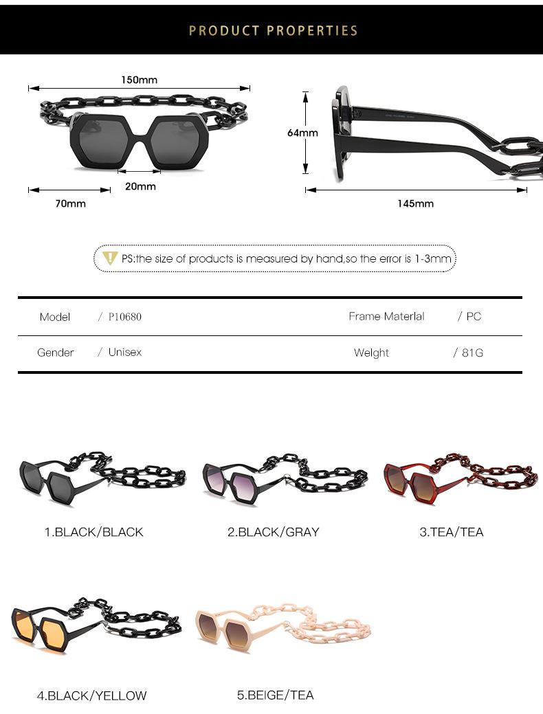 2020 Personalized Chain Sunglasses European And American Exaggerated Octagonal Sunglasses Women Fashion Glasses Sunglass 5