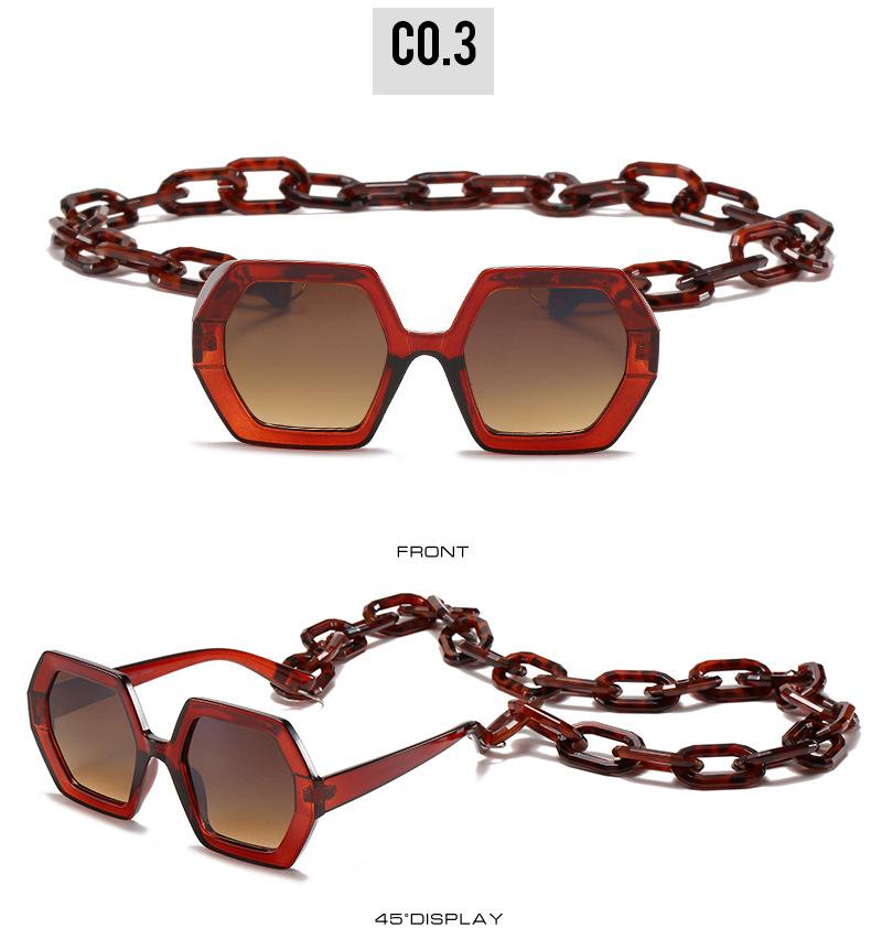 2020 Personalized Chain Sunglasses European And American Exaggerated Octagonal Sunglasses Women Fashion Glasses Sunglass 8