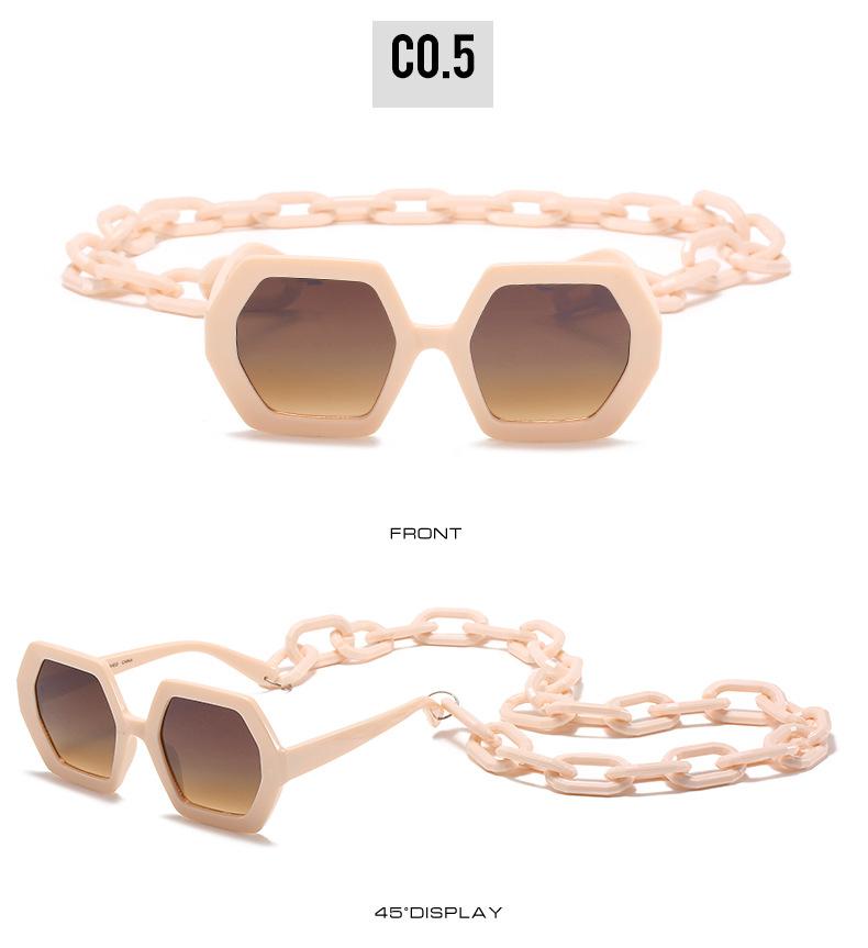 2020 Personalized Chain Sunglasses European And American Exaggerated Octagonal Sunglasses Women Fashion Glasses Sunglass 10