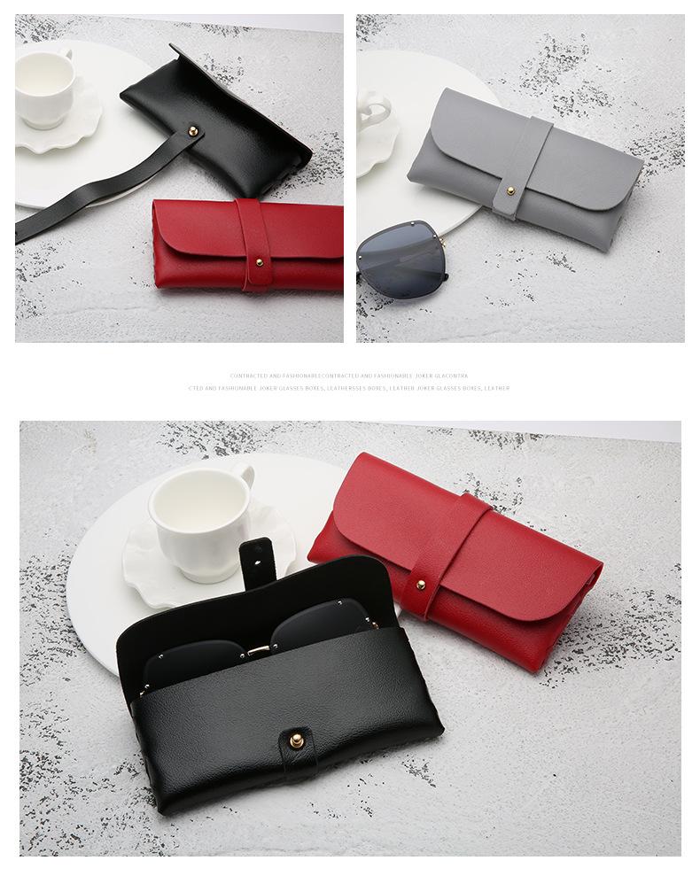 Portable Leather Glasses Case Soft Bag Handmade Sunglasses PVC Leather Handmade Sunglasses Case 16.8*7.6*2.8 cm 2