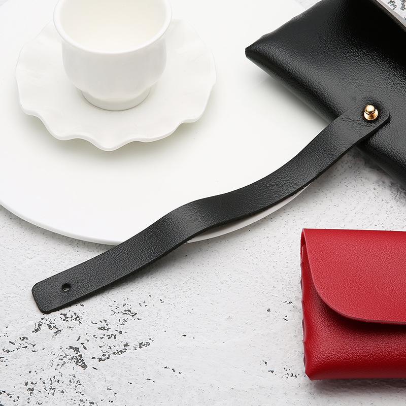 Portable Leather Glasses Case Soft Bag Handmade Sunglasses PVC Leather Handmade Sunglasses Case 16.8*7.6*2.8 cm 3