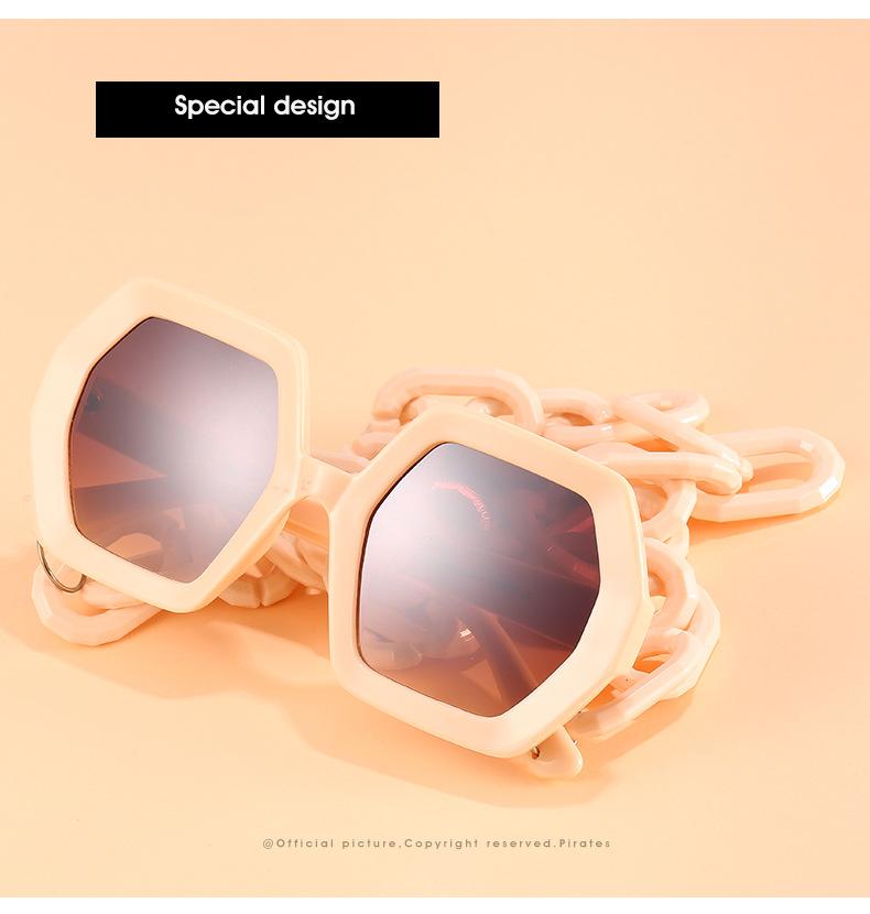 2020 Personalized Chain Sunglasses European And American Exaggerated Octagonal Sunglasses Women Fashion Glasses Sunglass 2
