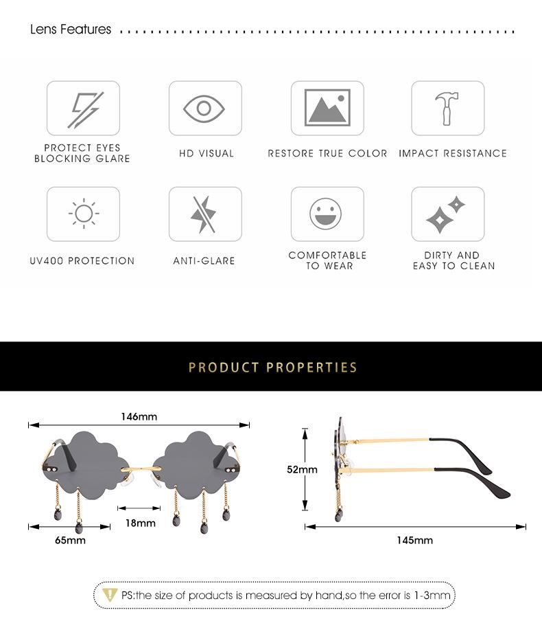 2020 New Personalized Rain Sunglasses Hot Cloud Glasses Fashion Exaggerated Milan Style Sunglasses 3