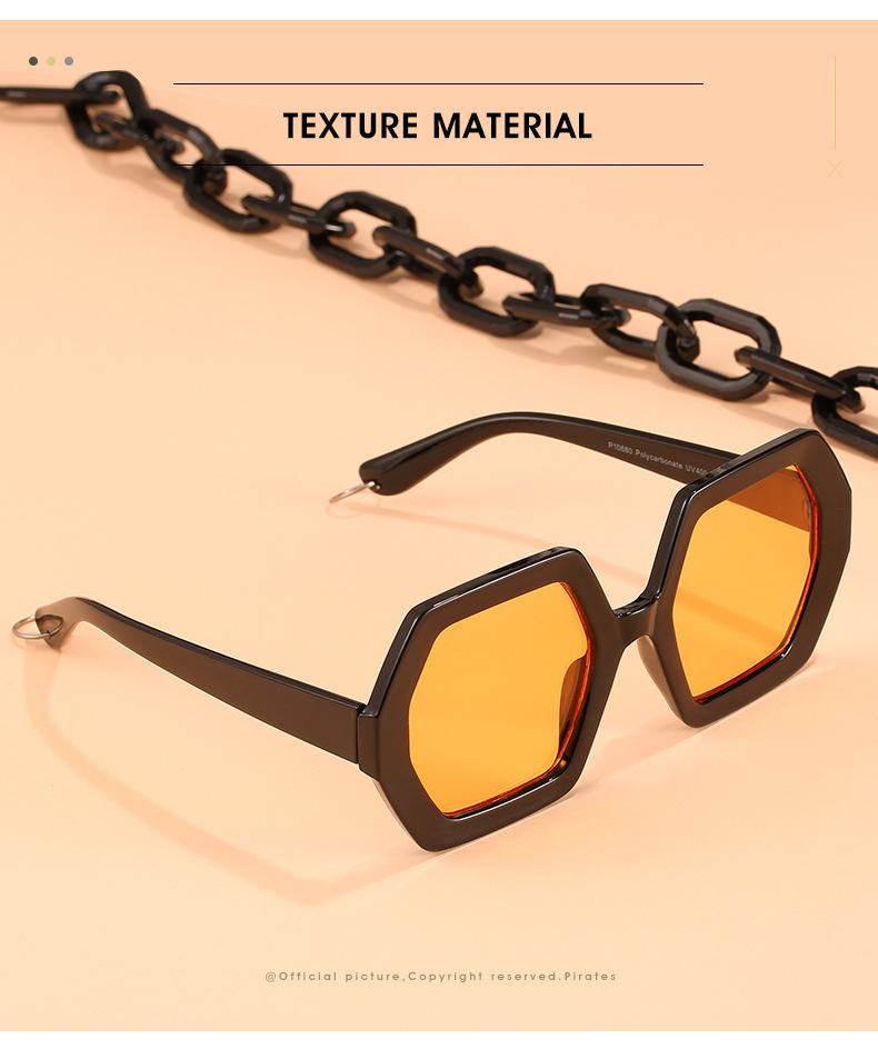 2020 Personalized Chain Sunglasses European And American Exaggerated Octagonal Sunglasses Women Fashion Glasses Sunglass 1