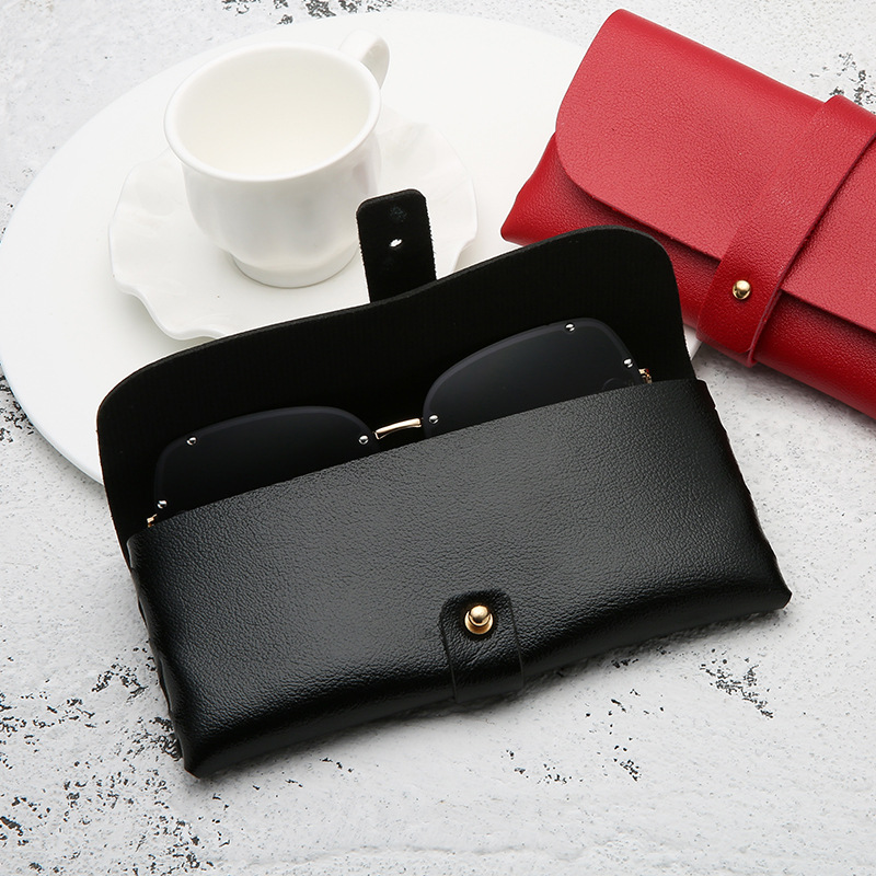 Portable Leather Glasses Case Soft Bag Handmade Sunglasses PVC Leather Handmade Sunglasses Case 16.8*7.6*2.8 cm 4