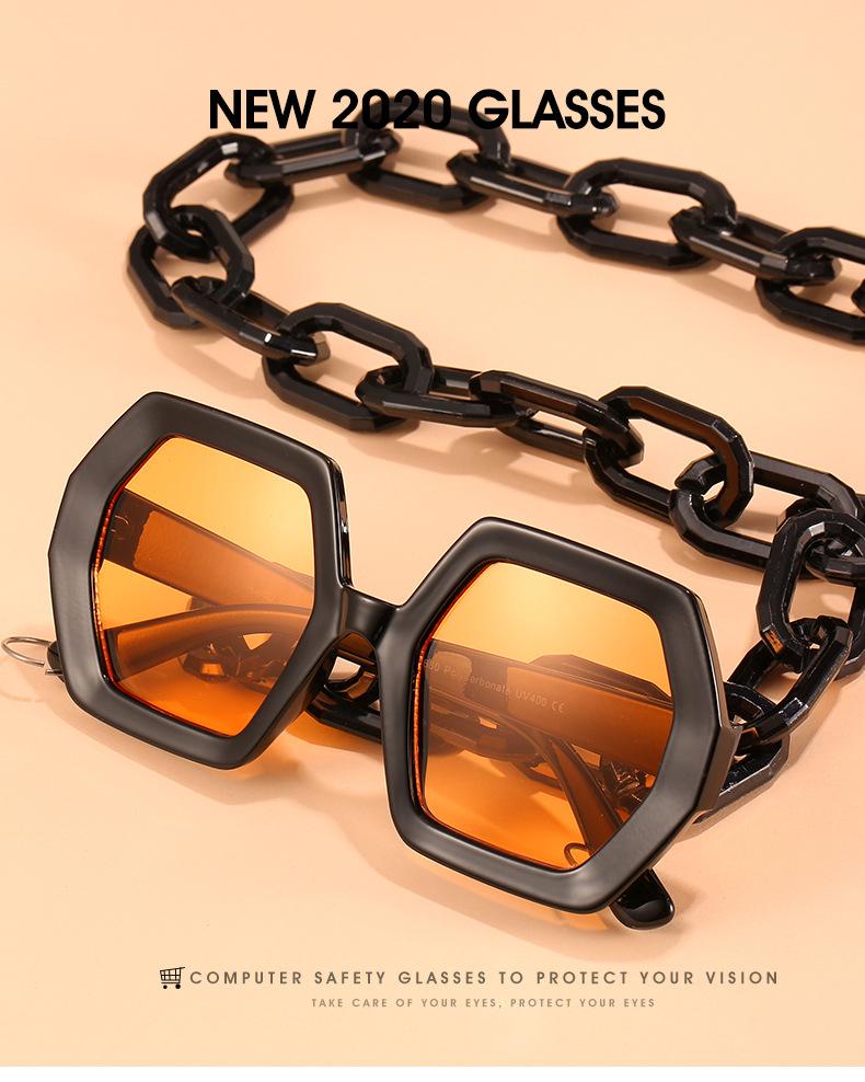 2020 Personalized Chain Sunglasses European And American Exaggerated Octagonal Sunglasses Women Fashion Glasses Sunglass 0