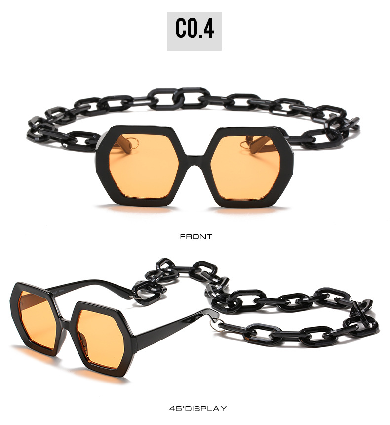 2020 Personalized Chain Sunglasses European And American Exaggerated Octagonal Sunglasses Women Fashion Glasses Sunglass 9