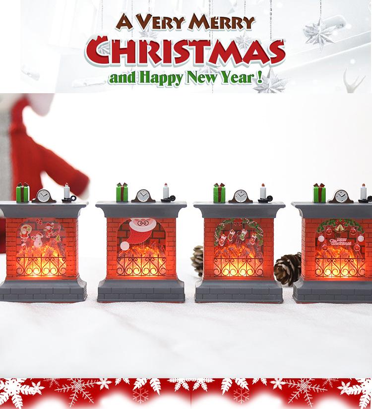 Christmas Glowing Electronic Candles Pumpkin Lights Wood Fire Small Fireplace Decoration Flame Lights Ornaments Bar Dress Up Arrangement 0