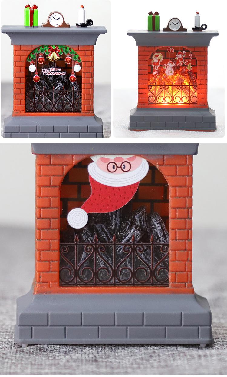 Christmas Glowing Electronic Candles Pumpkin Lights Wood Fire Small Fireplace Decoration Flame Lights Ornaments Bar Dress Up Arrangement 6