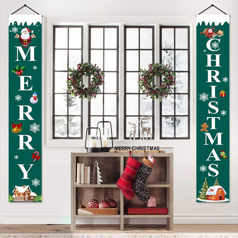 Curtain Couplet Two-piece Set Santa Claus Pattern Hanging Flag Banner Halloween Curtain Exclusively For Christmas  1