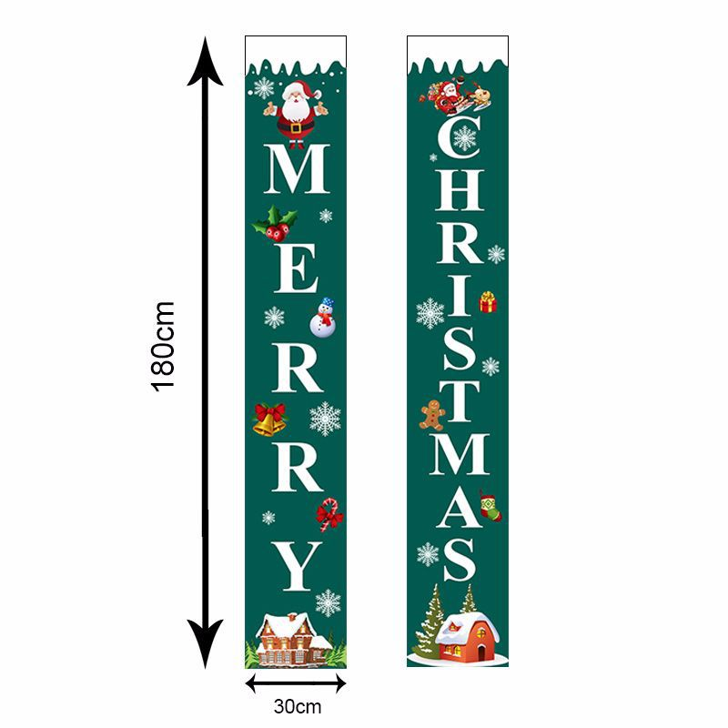 Curtain Couplet Two-piece Set Santa Claus Pattern Hanging Flag Banner Halloween Curtain Exclusively For Christmas  0
