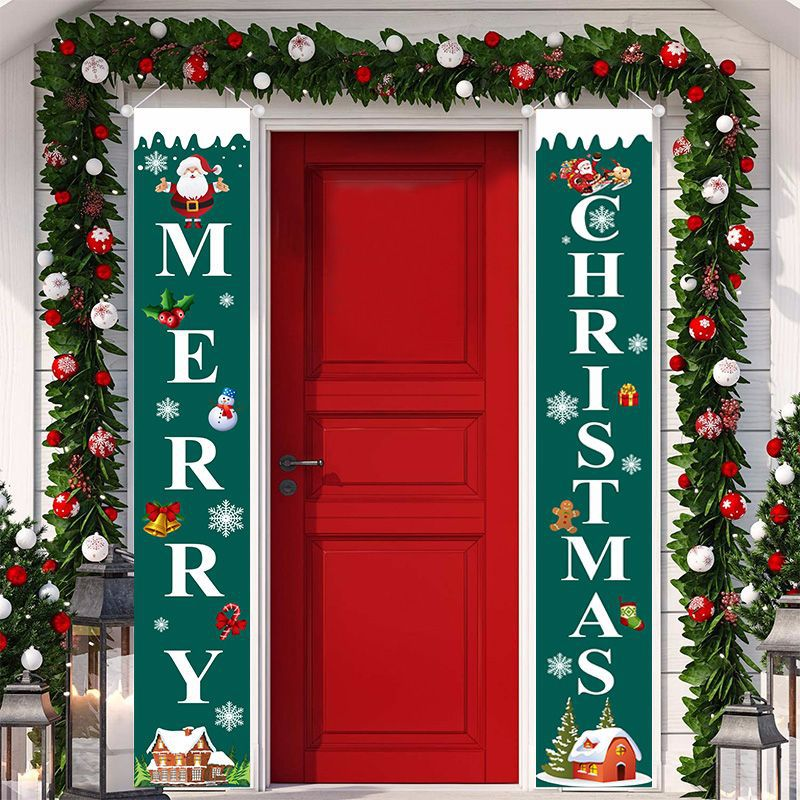Curtain Couplet Two-piece Set Santa Claus Pattern Hanging Flag Banner Halloween Curtain Exclusively For Christmas  3