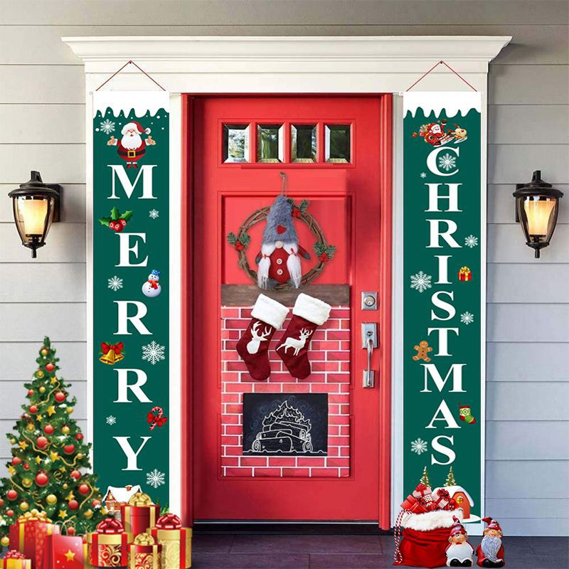Curtain Couplet Two-piece Set Santa Claus Pattern Hanging Flag Banner Halloween Curtain Exclusively For Christmas  4