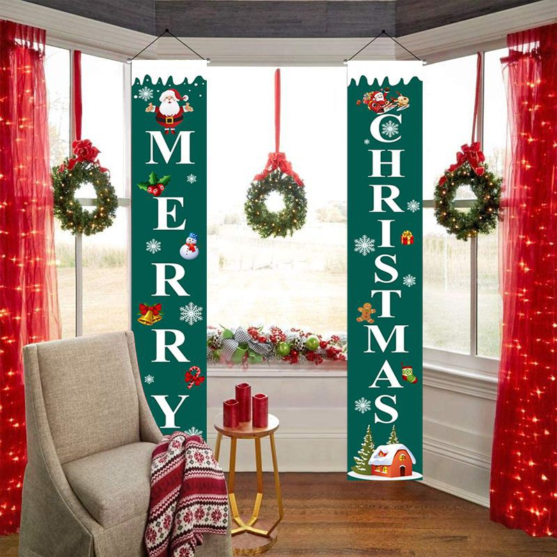 Curtain Couplet Two-piece Set Santa Claus Pattern Hanging Flag Banner Halloween Curtain Exclusively For Christmas  2