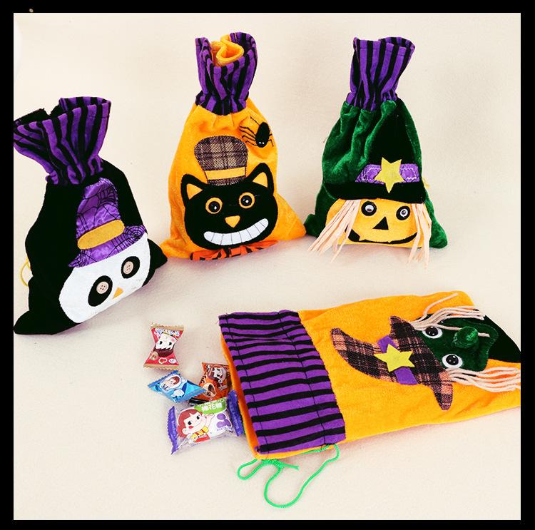 Halloween Cartoon Candy Canvas Bag Pumpkin Head Gift Packaging Bag Pure Cotton Beam Gift Bag Wholesale Spot 3
