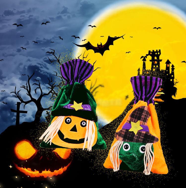 Halloween Cartoon Candy Canvas Bag Pumpkin Head Gift Packaging Bag Pure Cotton Beam Gift Bag Wholesale Spot 0
