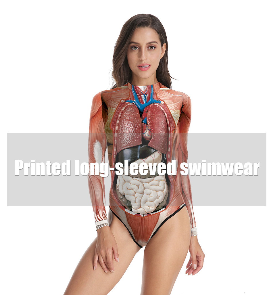 Halloween Night Performance Costumes Body Tissue Print One-piece Triangle Swimsuit B120-046 0