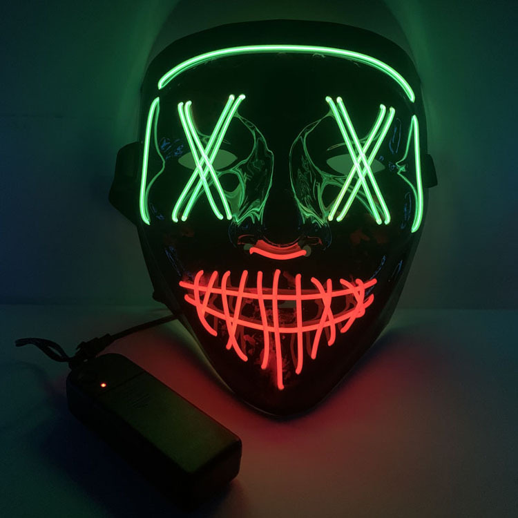 Halloween Two-color Glowing Grimace Mask With Blood Horror Thriller LED Glowing Mask EL Mask 0