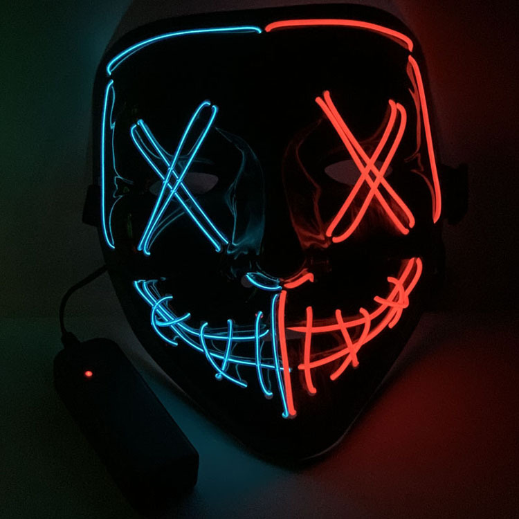 Halloween Two-color Glowing Grimace Mask With Blood Horror Thriller LED Glowing Mask EL Mask 3