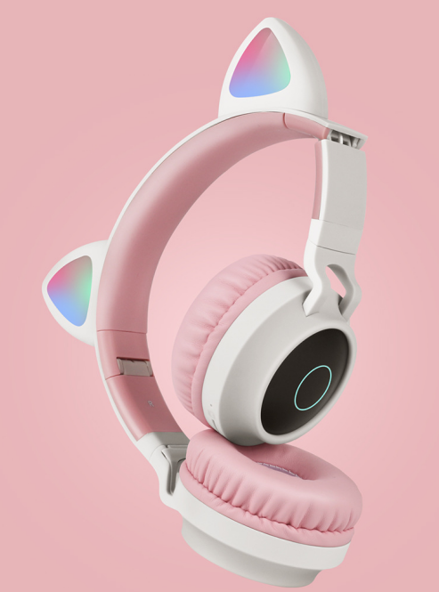 New Student Cute Cat Ear Headset Wireless Cartoon Bluetooth Gaming Headset Mobile Phone Explosion Headset 4
