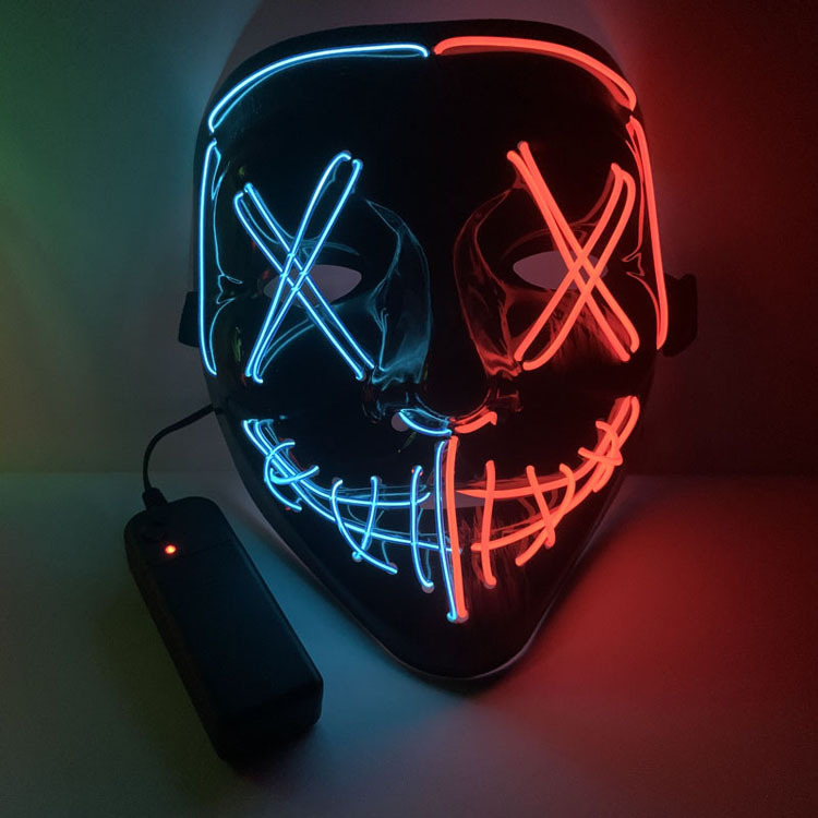 Halloween Two-color Glowing Grimace Mask With Blood Horror Thriller LED Glowing Mask EL Mask 2