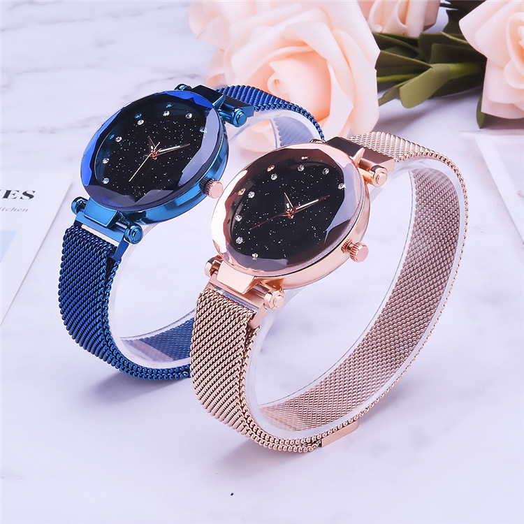 Magnetic Lazy Quartz Watch Cross-border Hot Sale Starry Star Rhinestone Vibrato Starry Sky Watch 0