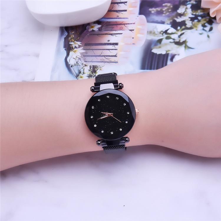 Magnetic Lazy Quartz Watch Cross-border Hot Sale Starry Star Rhinestone Vibrato Starry Sky Watch 4