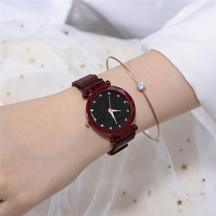 Magnetic Lazy Quartz Watch Cross-border Hot Sale Starry Star Rhinestone Vibrato Starry Sky Watch 8