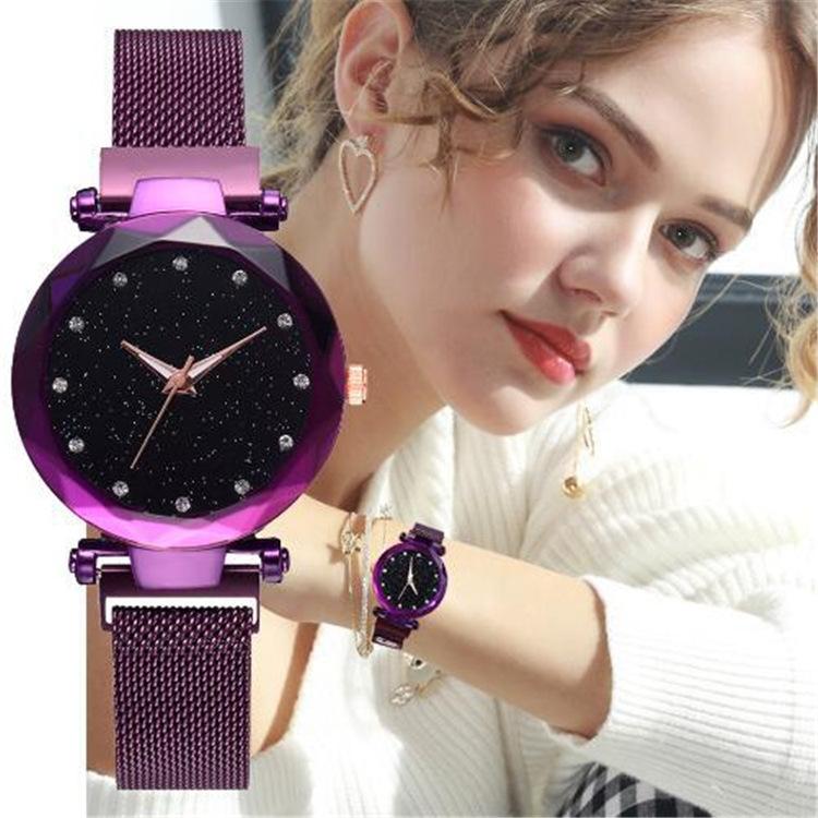 Magnetic Lazy Quartz Watch Cross-border Hot Sale Starry Star Rhinestone Vibrato Starry Sky Watch 1