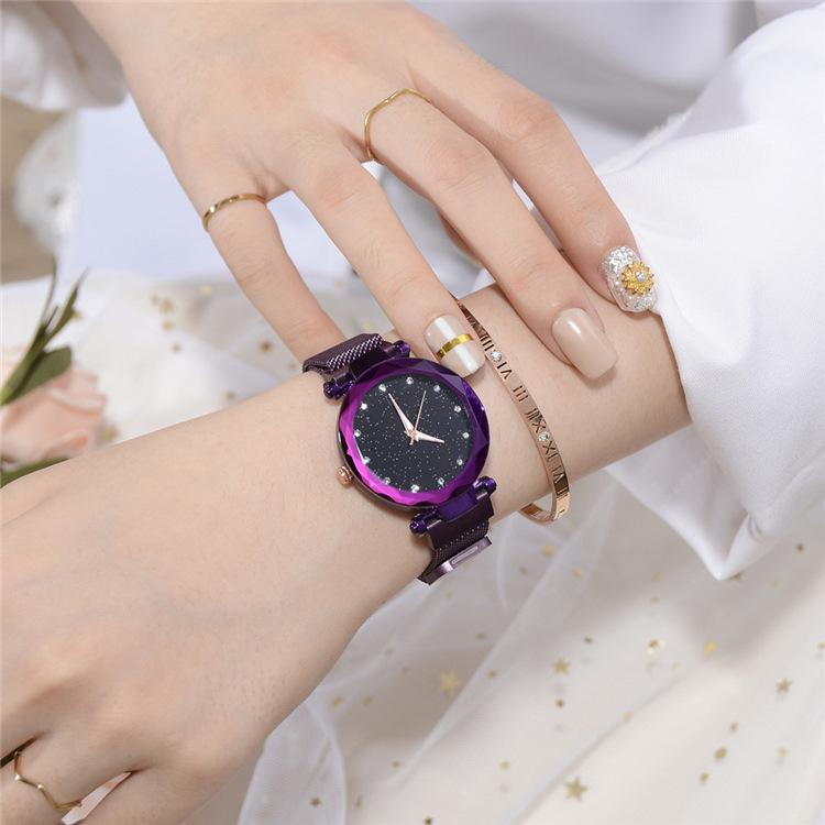 Magnetic Lazy Quartz Watch Cross-border Hot Sale Starry Star Rhinestone Vibrato Starry Sky Watch 7