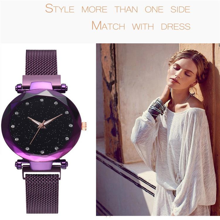 Magnetic Lazy Quartz Watch Cross-border Hot Sale Starry Star Rhinestone Vibrato Starry Sky Watch 3