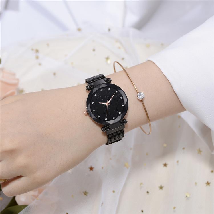 Magnetic Lazy Quartz Watch Cross-border Hot Sale Starry Star Rhinestone Vibrato Starry Sky Watch 9