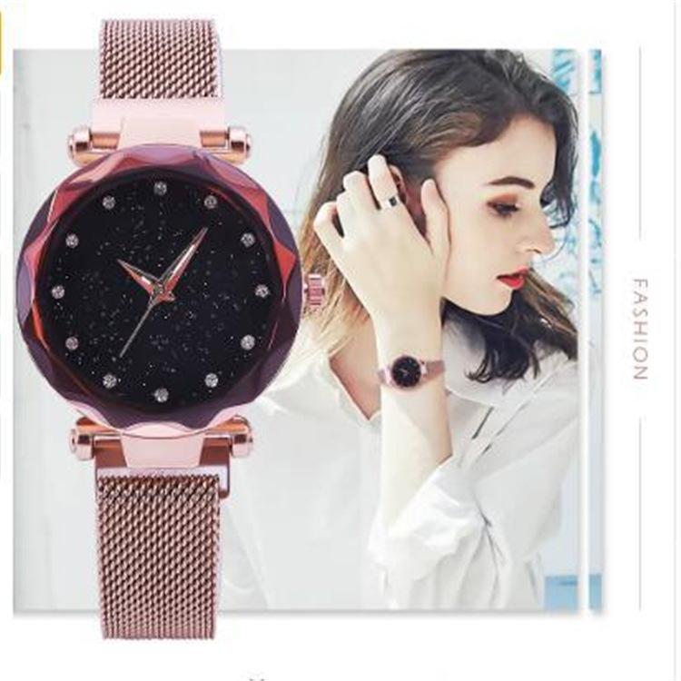 Magnetic Lazy Quartz Watch Cross-border Hot Sale Starry Star Rhinestone Vibrato Starry Sky Watch 2