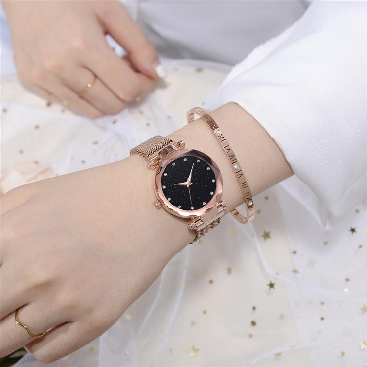 Magnetic Lazy Quartz Watch Cross-border Hot Sale Starry Star Rhinestone Vibrato Starry Sky Watch 6