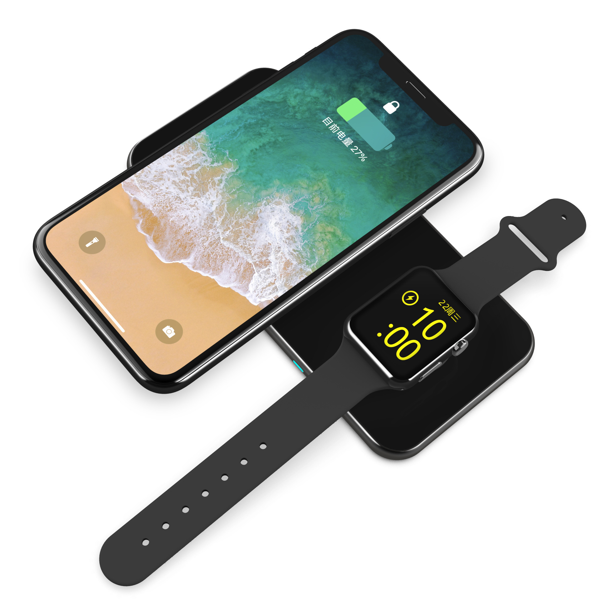 Three-in-one Wireless Charging TWS Earphone Iwatch Watch Magnetic Charging Metal Glass Suitable For Apple X 1