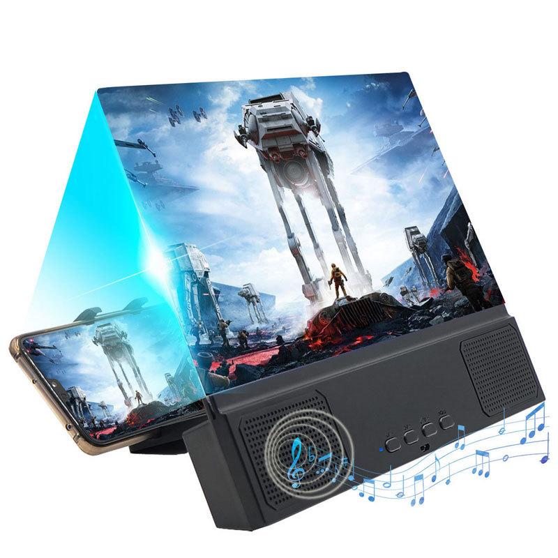 12 Inch Large Screen Bluetooth Speaker Multi-Function Mobile Phone Bracket Amplifier 2 In 1 3D Mobile Phone Screen Amplifier 3
