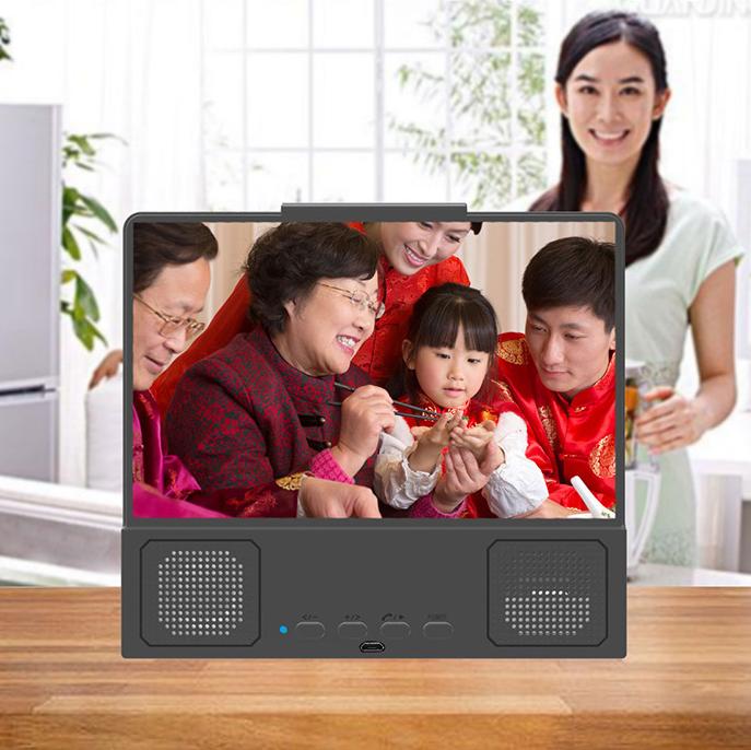 8.5 Inch Bluetooth Speaker Phone TV Stand Amplifier 3d HD Video Phone Screen Amplifier 3
