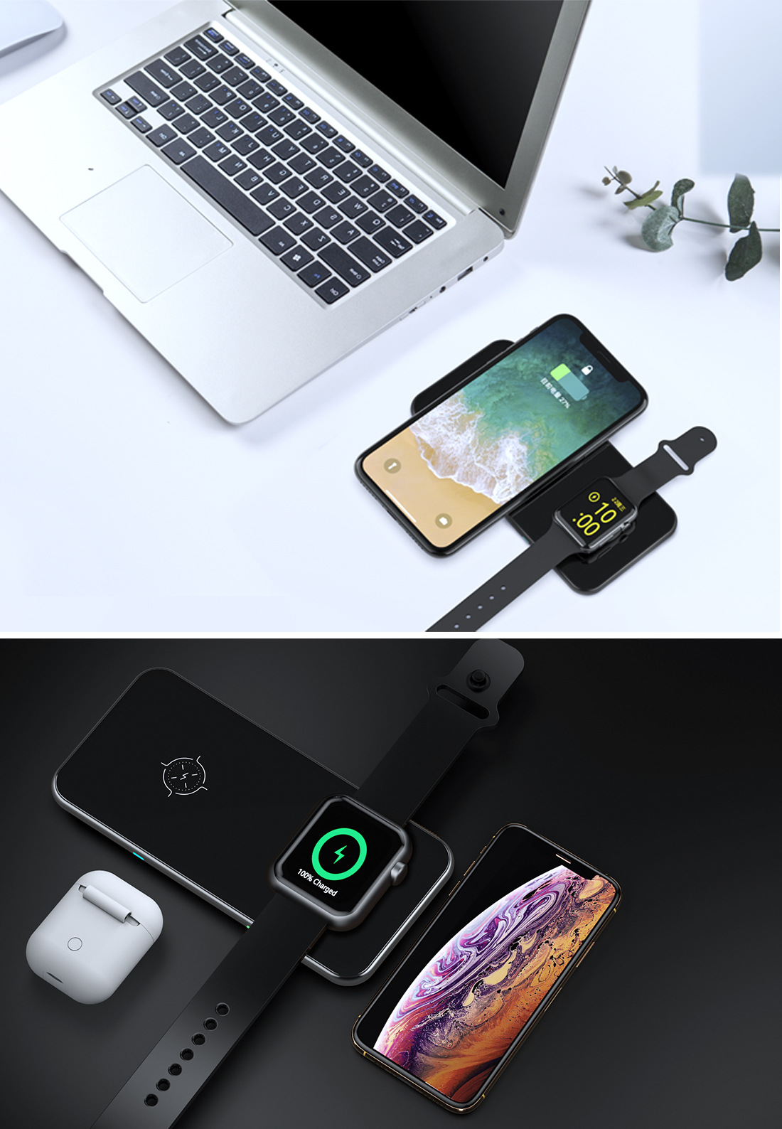 Three-in-one Wireless Charging TWS Earphone Iwatch Watch Magnetic Charging Metal Glass Suitable For Apple X 0