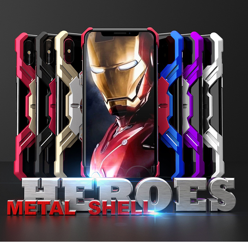 Heroes Avengers Iron Man Apple X XS Huawei Applicable Metal Phone Case P20pro Cover 0