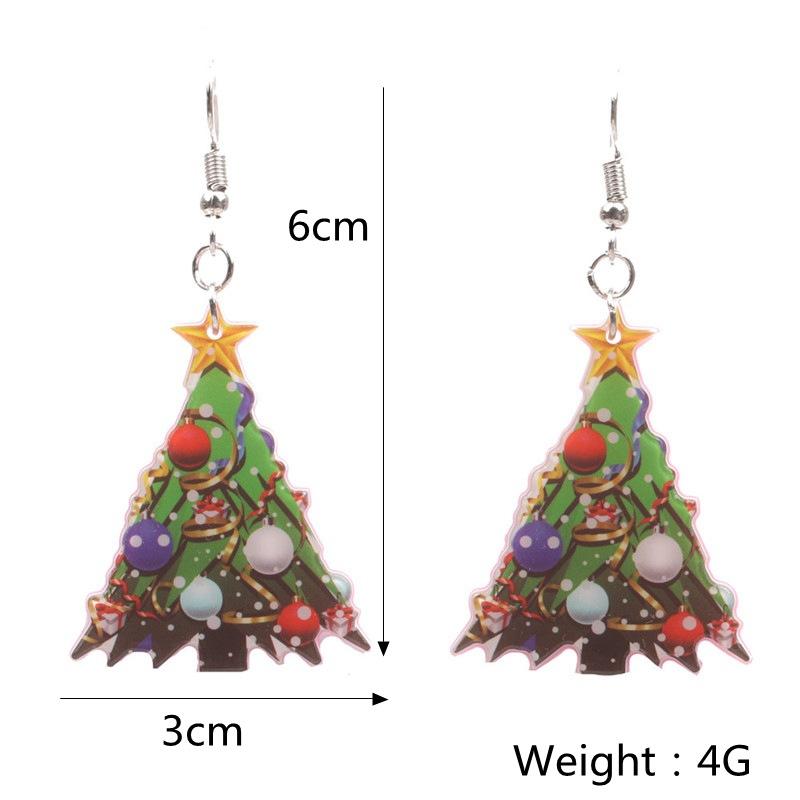 New Christmas Tree Earrings Acrylic Christmas Snow Bells People Cane Gift Box Earrings 2