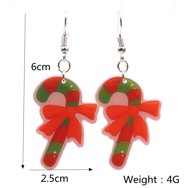 New Christmas Tree Earrings Acrylic Christmas Snow Bells People Cane Gift Box Earrings 3