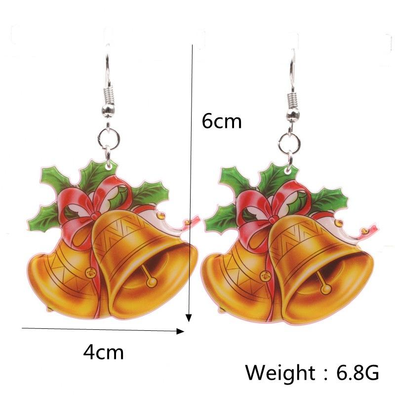 New Christmas Tree Earrings Acrylic Christmas Snow Bells People Cane Gift Box Earrings 0