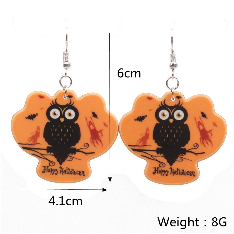 Halloween Pumpkin Earrings Ghost Festival Owl Earrings with Propitious implied Meaning Earrings Studs 3