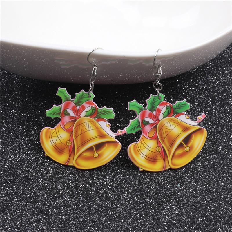 New Christmas Tree Earrings Acrylic Christmas Snow Bells People Cane Gift Box Earrings 5