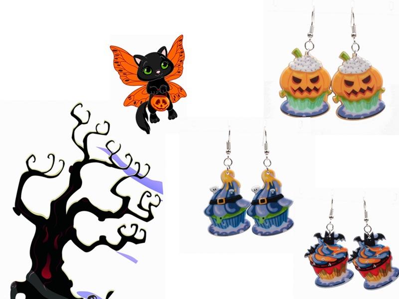 Halloween Pumpkin Earrings Ghost Festival Owl Earrings with Propitious implied Meaning Earrings Studs 0