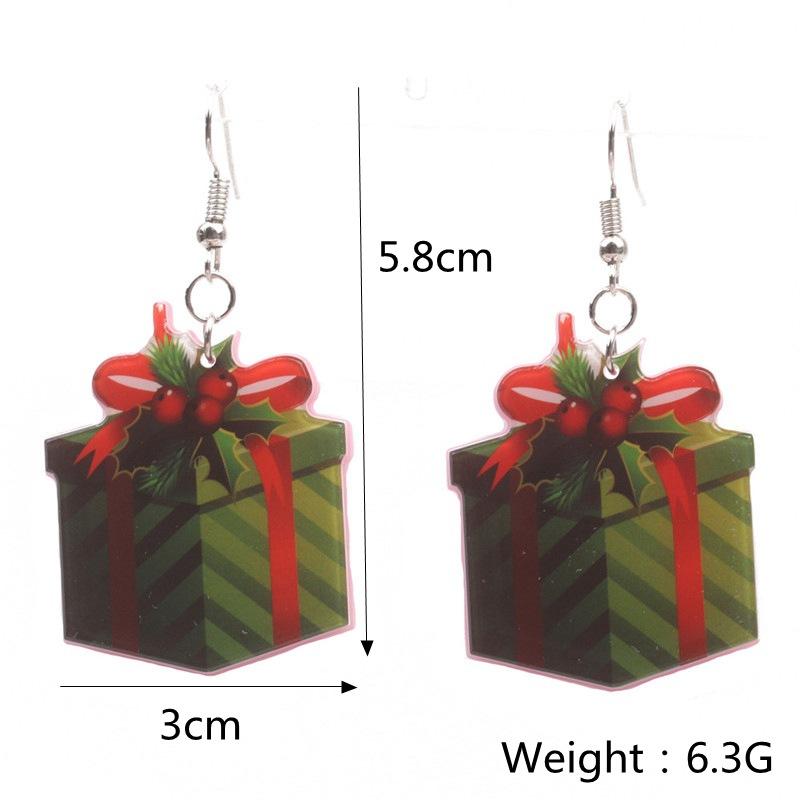 New Christmas Tree Earrings Acrylic Christmas Snow Bells People Cane Gift Box Earrings 1